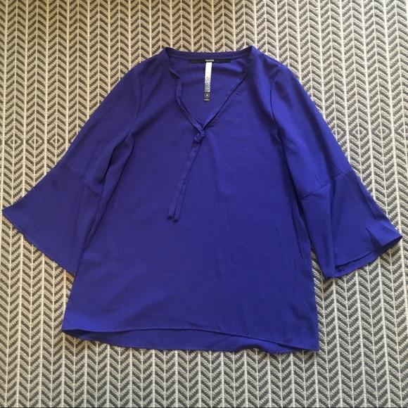 Kensie Tops - NWT- bright purple bell-sleeved top